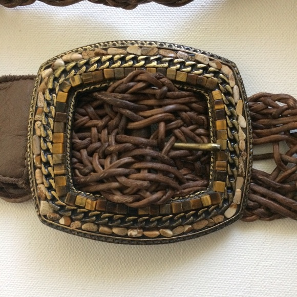LeatherRock Accessories - LeatherRock woven belt large brass square buckle.